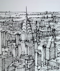 The Chrysler and Queensboro Bridge by Ingo -  sized 35x43 inches. Available from Whitewall Galleries